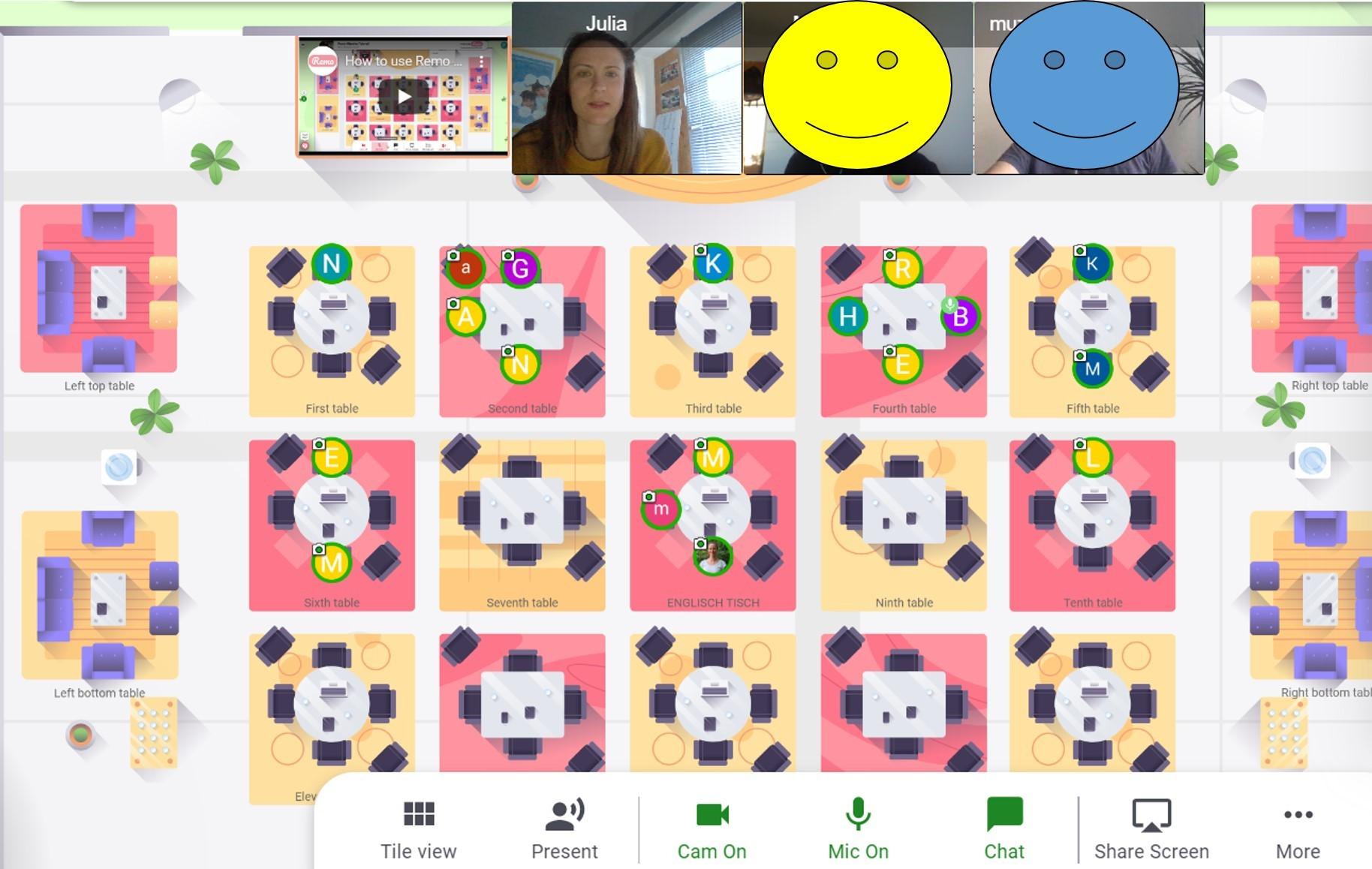 Screenshot beim digitalen Treffen, verschiedene virtuelle Trefftische vorhanden