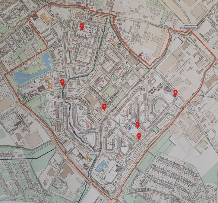 Standorte der Schaufenster sind auf einer Karte vermerkt