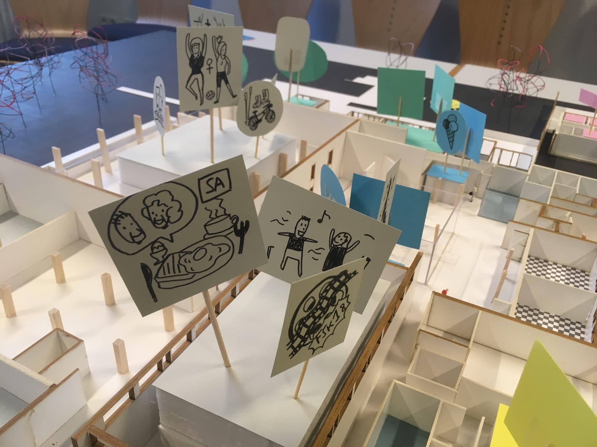 Mit Ideen bemalte Kärtchen sind in die entsprechenden Gebäude gesteckt