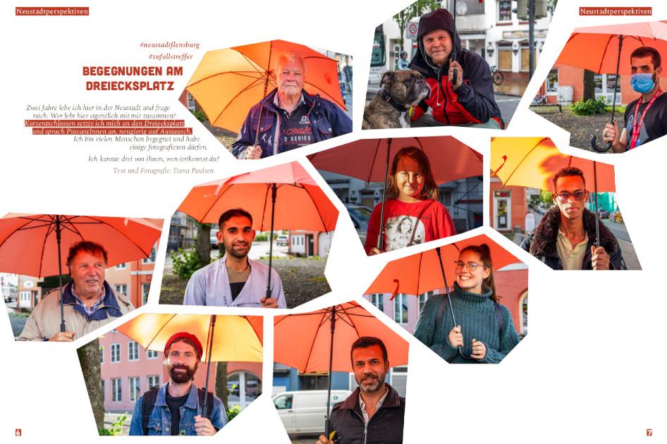 Kacheln mit zehnverschiedenen Kacheln von Fotos unterschiedlicher Kiezbewohnerinnen und Bewohner unter dem orangenen Regenschirm