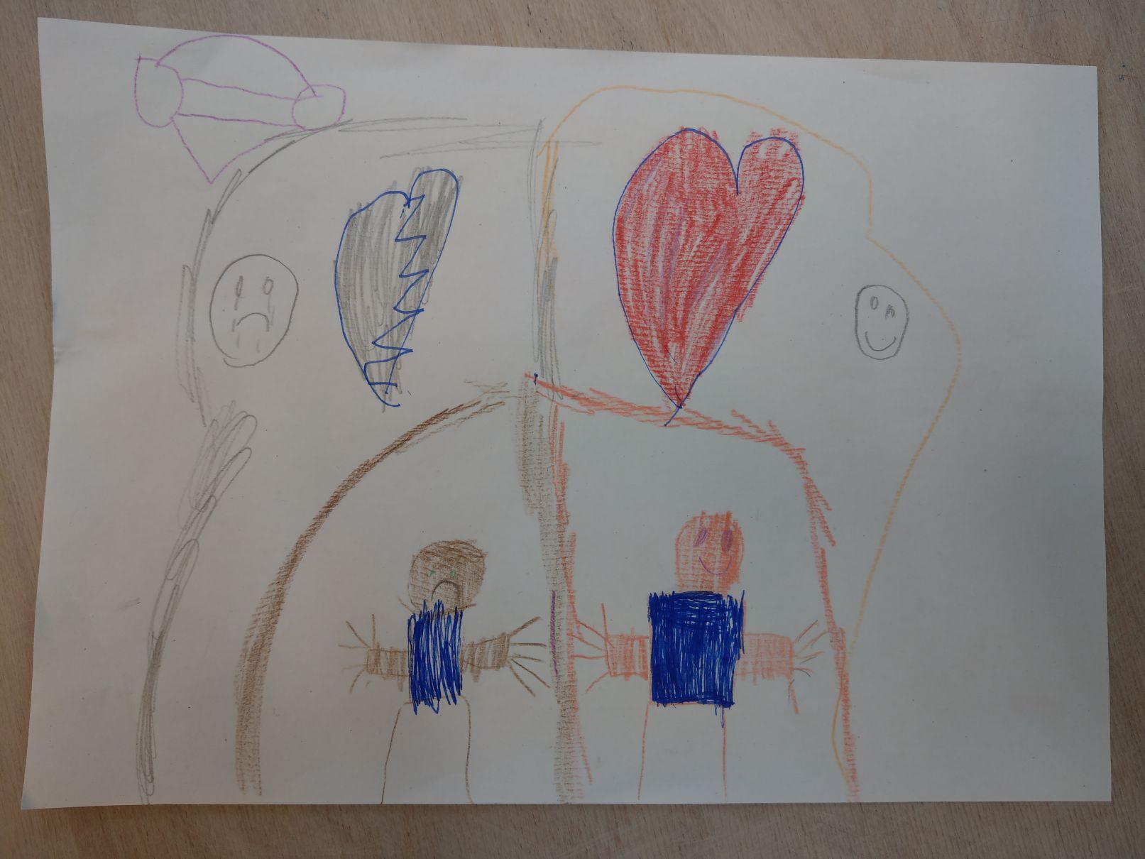 Eine Kinderzeichnung von zwei Menschen in einem Haus. Links über dem Haus ist ein trauriger Smiley und ein zerbrochenes, graues Herz. Rechts oben ist ein glücklicher Smiley und ein rotes Herz gemalt