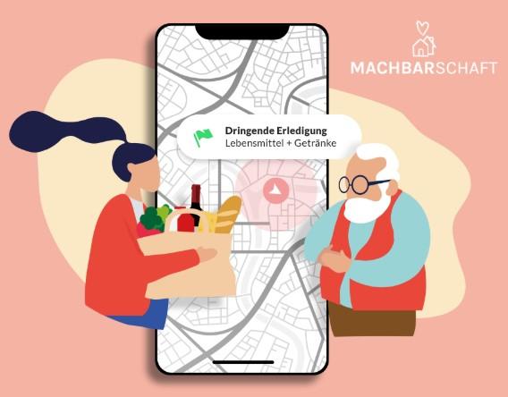 """Grafische Darstellung der App auf einem Handy. Im Vordergrund sind Abbildungen einer jungen Frau mit Einkaufstüt und ein älterer Mann zu sehen. In der oberen rechten Ecke ist das Logo """"Machbarschaft"""" abgebildet."""