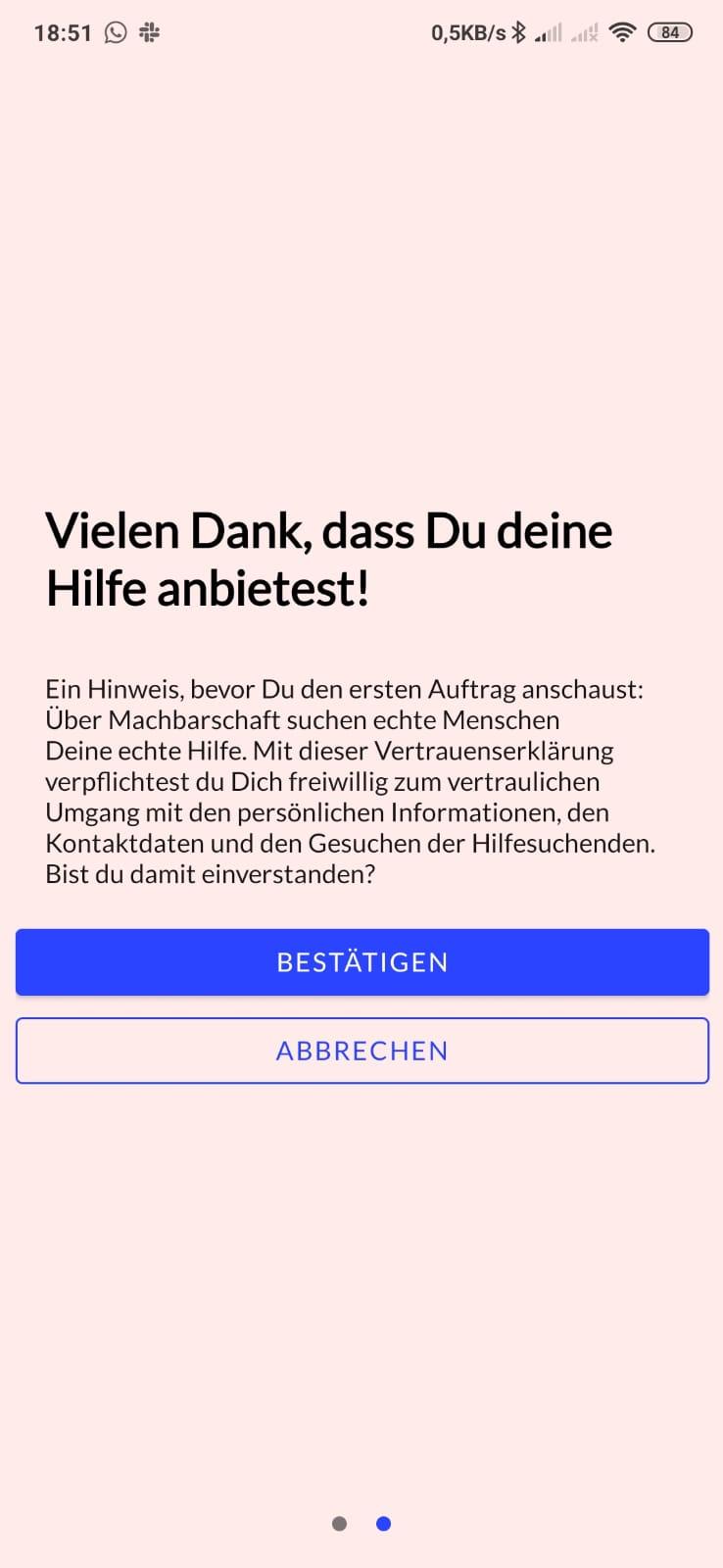 Screenshot der App mit Disclaimer beim ersten Öffnen. Bestätigung der Weiteröeitung der Konktaktdaten zur Vermittlung von Nachbarschaftshilfe