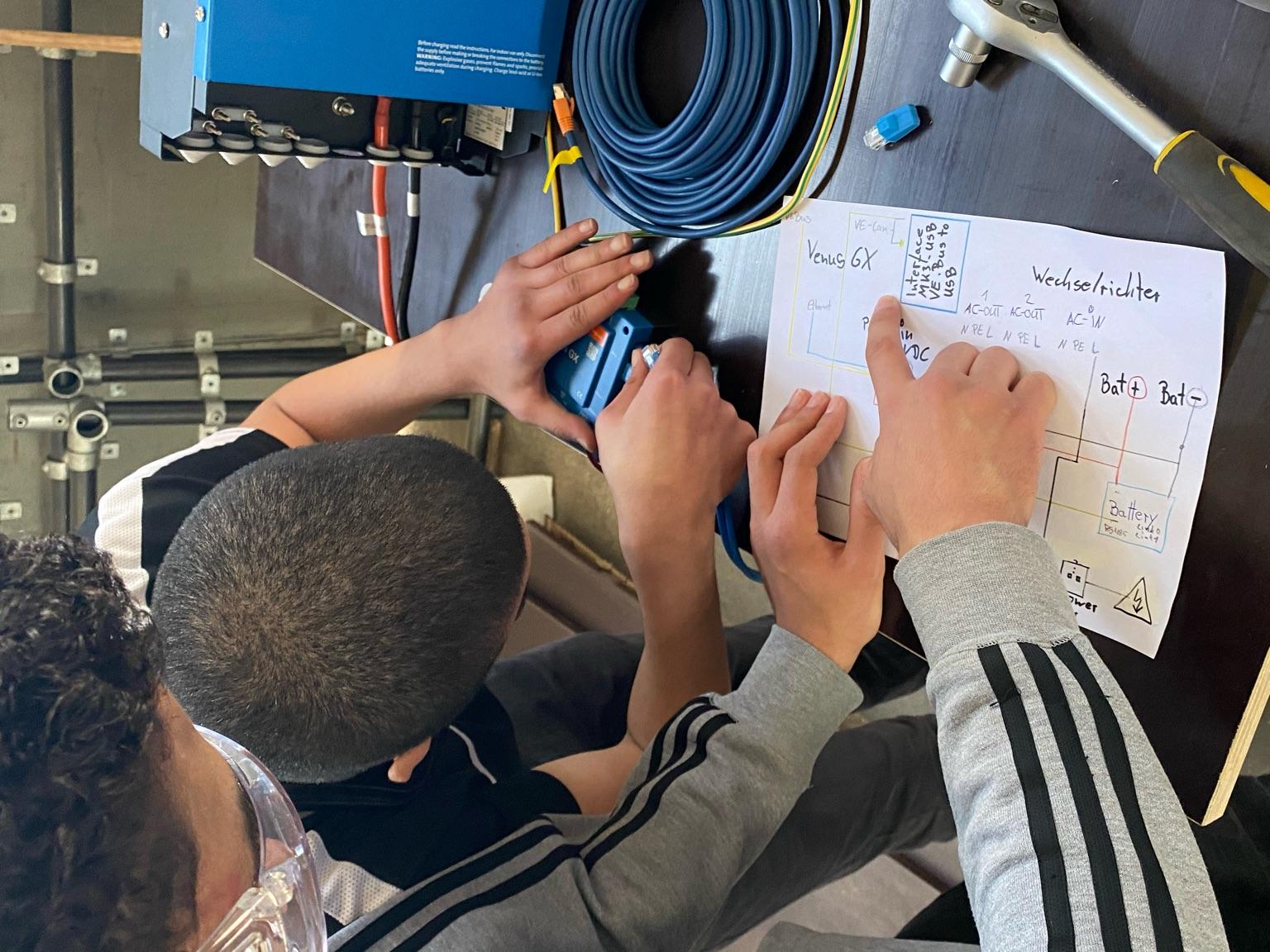 Zwei Jugendliche werkeln stehend an einem technischen Gerät herum. Einer steckt ein Kabel ins Gerät, der andere zeigt auf eine selbst erstellte, technische Skizze.