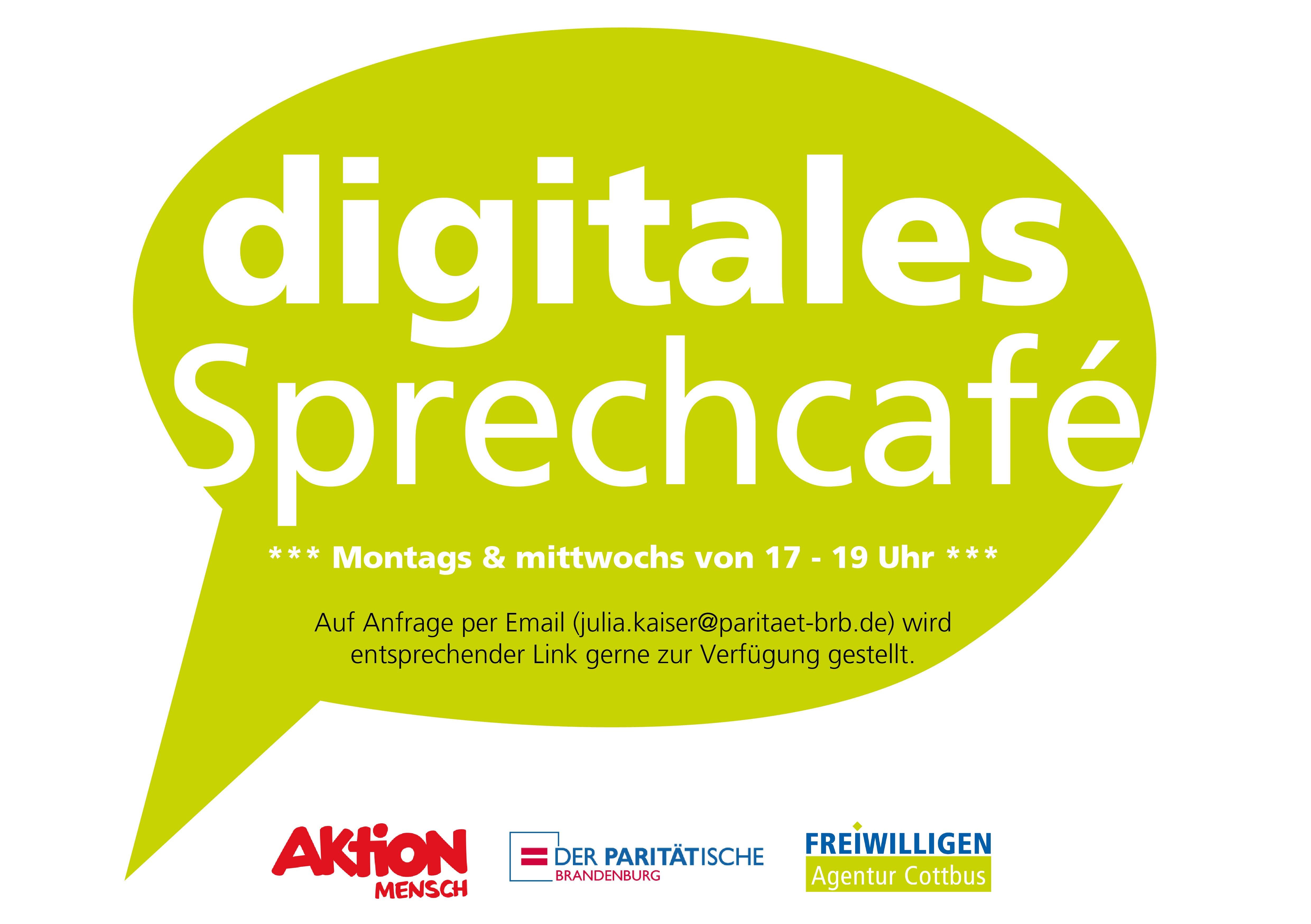 """Sprechblase mit """"digitales Sprechcafé"""" und weiteren Informationen wie Uhrzeit & Kontaktperson"""