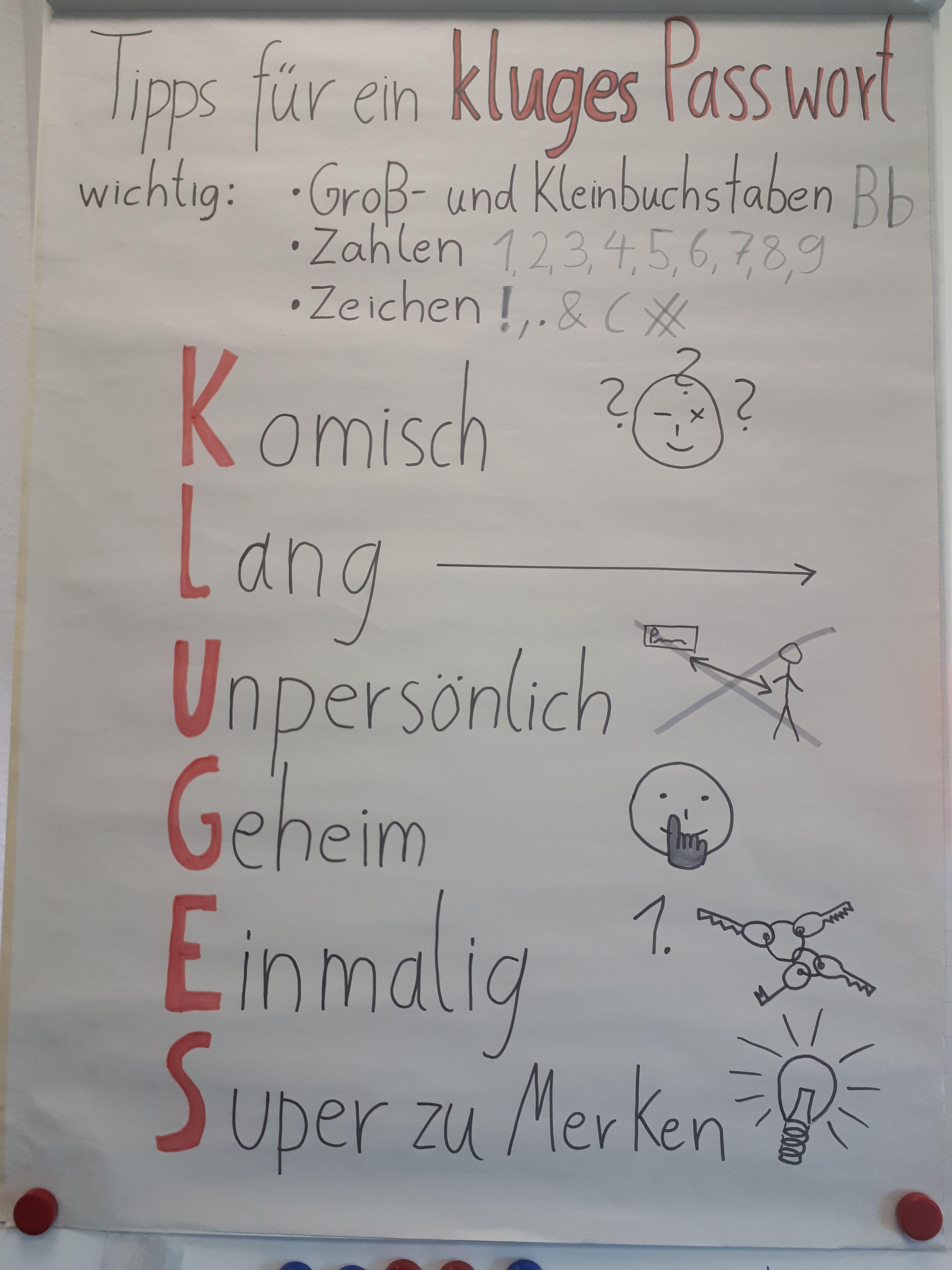 """Plakat mit Tipps für ein """"kluges"""" Passwort"""