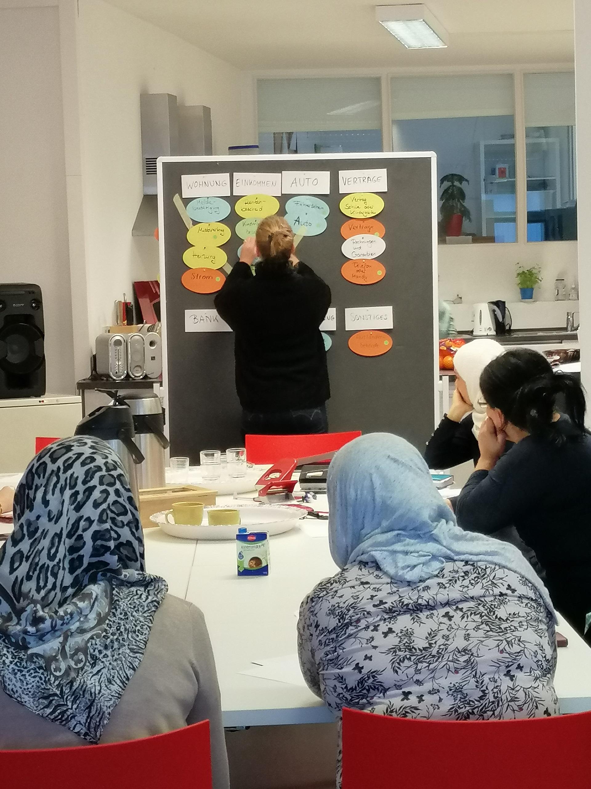 Frauen sitzen um einen Tisch; eine Frau kategorisiert die Zettel an der Pinnwand.