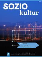 Auf dem Bild ist das Cover der aktuellen Ausgabe Zeitschrift SOZIOKultur zu sehen. Es ist eine Nachtaufnahme mit dunkelblauem Himmel und Lichtspuren