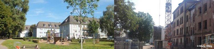 Zweiteilig: Links Spielplatz mit Wohngebäuden. Rechts Wohngebäude mit Baustelle.