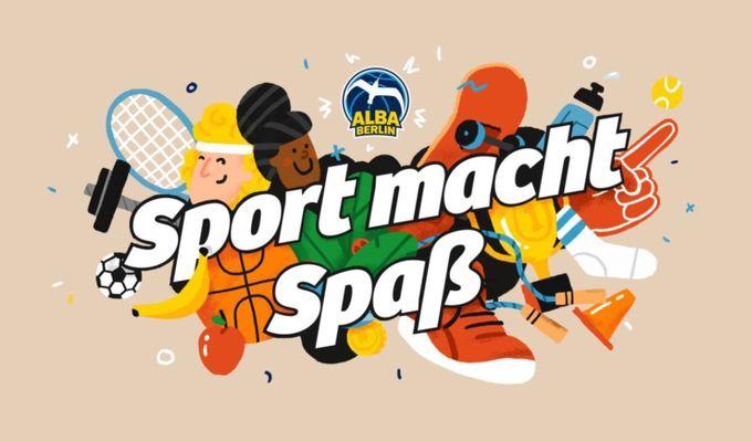 Schriftzug: Sport macht Spaß. Mit Alba Logo