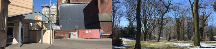 Eingang zur Peiner Tafel in Industriegebiet. Rechtes Bild: Plattenhausblock gesehen durch Park mit kahlen Bäumen.