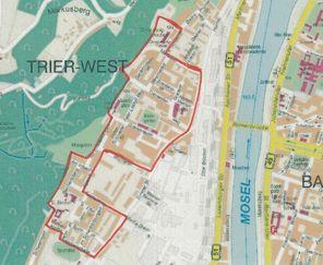 """Karte von Trier, die Grenzen des Soziale-Stadt-Gebiets """"West"""" sind in rot gezogen"""