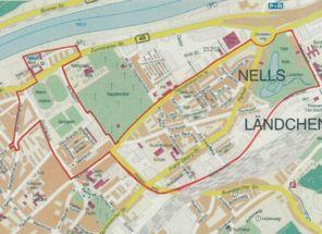 """Karte von Trier, die Grenzen des Soziale-Stadt-Gebiets """"Nord"""" sind in rot gezogen"""
