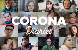 """16 Screenshots der Videos mit Gesichtsaufnahmen, darüber steht """"Corona Diaries"""""""