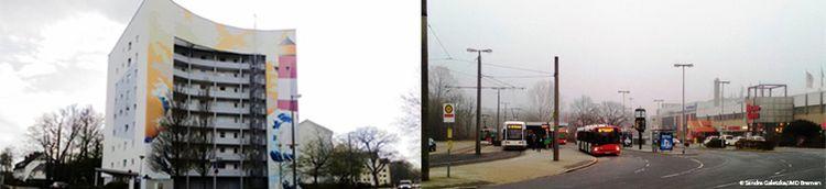 Zweiteilig: Links ein buntes Wohngebäude mit kahlen Bäumen davor. Rechts eine Haltestelle mit Bussen und Straßenbahn.