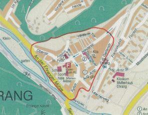 """Karte von Trier, die Grenzen des Soziale-Stadt-Gebiets """"Ehrang"""" sind in rot gezogen"""