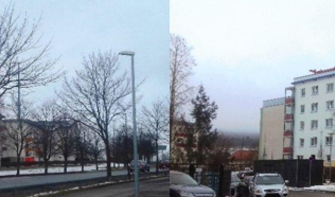 Zwei Fotoaufnahmen nebeneinander von unterschiedlichen Gebäuden. Beide Aufnahmen mit kahlen Bäumen und grauem Himmel.
