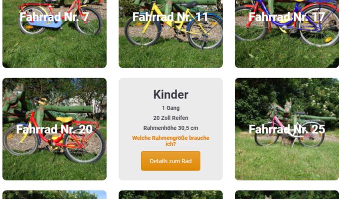acht Fotos von verfügbaren Kinderrädern unterschiedlicher Größe sind kachelförmig angeordnet