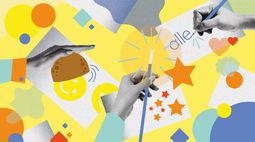Eine Collage mit dre Händen, die z.B. das Wort: alle schreiben, einen Zauberstab halten. Der Hintergrund sind Sterne, Kreise, Rechtecke in grau, blau, orange auf gelbem Grund