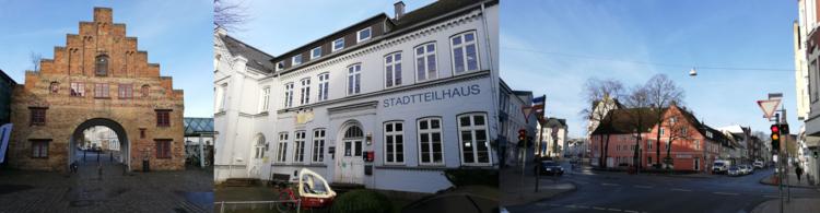 Dreiteilig: Links ein Gebäude mit Unterführung. Mittig ein weißes Haus mit der Aufschrift: Stadtteilhaus. Rechts eine Straßenkreuzung mit Wohngebäuden.