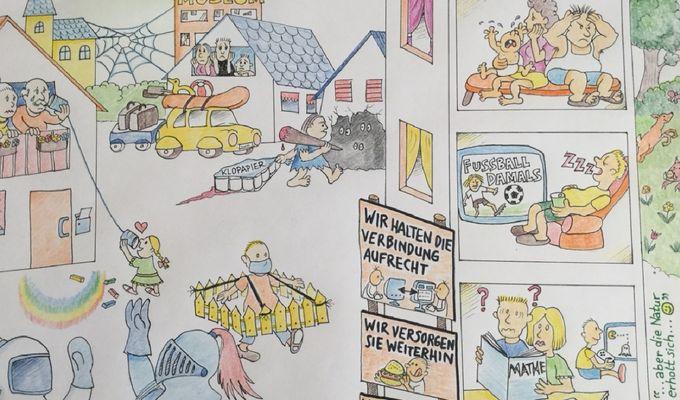 Mit Buntstift kolorierter Comic, verschiedene Szenen während des Lockdowns in einer Stadt, zB Klopapier-Jagen, Home-Schooling, Treffen von Astronaut und Ritter (beide mit Schutz über Gesicht) etc.