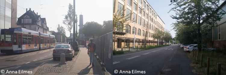 Zweiteiliges Bild: Links Straßenbahn fährt die Straße hoch. Rechts: Straße mit rechts und links Gebäuden.