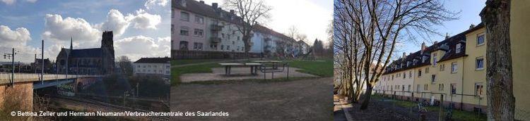 Dreiteilig: Links eine Eisenbahnbrücke und Kirche im Hintergrund. Mittig ein Innenhof und Tischtennisplatten. Rechts die Rückseite von Wohngebäuden und deren Gärten.