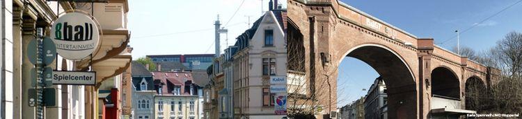 Zwei Fotoaufnahmen nebeneinander. Links zeigt eine Straße mit einem Spielcenter und Wohngebäuden. Rechts zeigt eine Brücke mit Blick zum blauen Himmel.