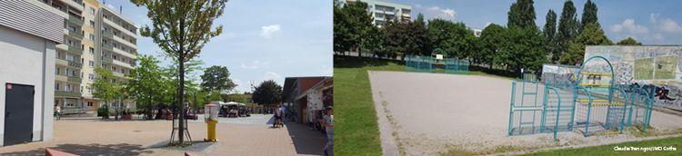 Zweiteilig: Links ein Platz vor einem Wohngebäude im Sommer. Rechts ein Fußballfeld mit Sand und blauen Toren.