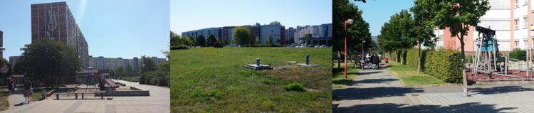 Dreiteilig: Links ein Wohngebiet mit Spielplatz. Mittig eine Wiese mit Gebäuden im Hintergrund. Rechts ein Weg mit Spaziergängern und angrenzenden Gebäuden.