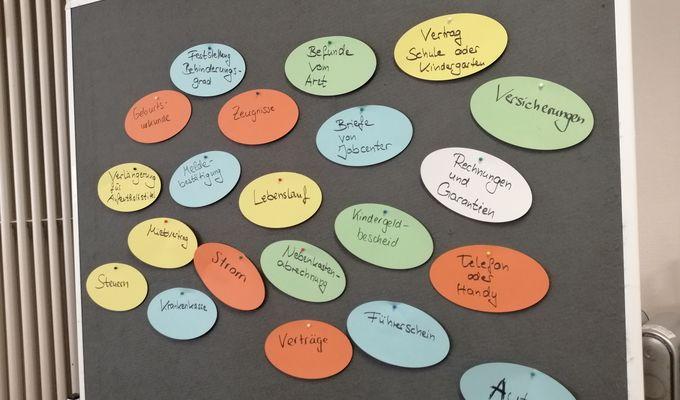 Pinnwand mit verschiedenen Zetteln rund ums Thema Unterlagen