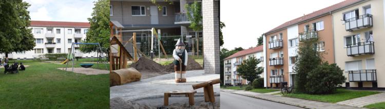 Drei aneinander gereihte Bilder. Links ein Spielplatz mit grüner Wiese. Mittig ein Holzzwerg auf einem Bauplatz. Rechts eine Seitenansicht eines Wohngebäudes.