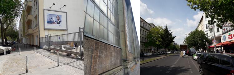 Dreiteilig: Links ein Fußweg an einer Einfahrt mit Plakat. Mittig die Seitenansicht eines Gebäudes. Rechts der Blick in eine Straße mit Bäumen und parkenden Autos.