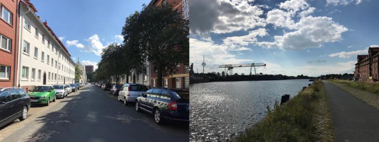 Zweiteilig: Links geht der Blick in eine Straße im Wohngebiet mit parkenden Autos. Rechts ein Kanal mit Fußweg. In beiden Bildern scheint die Sonne.