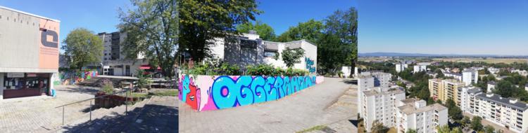 Dreiteilig: Links der Vorplatz eines evangelischen Gemeindezentrums. Mittig: Eine Auffahrt mit Graffiti zu einem kleinen Gebäude. Rechts: Vogelperspektive auf mehrere Wohnblöcke.