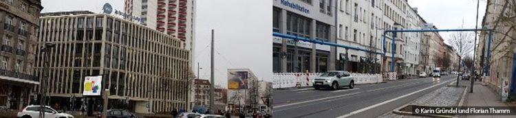 Zweiteilig: Links geht der Blick in eine befahrene Straße mit Gebäuden. Rechts eine weitere Straße mit Wohngebäuden rechts und links.