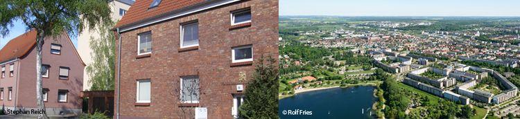 Fotos aus Neubrandenburg. Links Ansicht von Mehrfamilienhäuser aus Backstein. Rechts Vogelperspektive aufs Quartier.