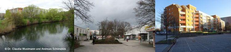 Dreiteiliges Bild: Links Flußlauf im Grünen mit Gebäuden im Hintergrund. Mittig: Markplatz mit kahlen Bäumen. Rechts: Sonne scheint auf ein großes Geschosshaus.